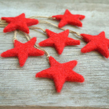 Christmas Star ornament Red Christmas star Felt Tree ornament Christmas décor Rustic home decor Christmas star decor GiftTags Wool Set of 3