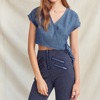 Urban Renewal Remade Cropped Denim Wrap Top   Urban Outfitters