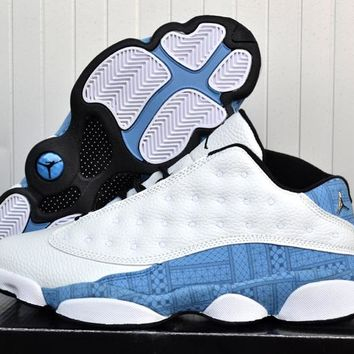 [Free Shipping]Air Jordan 13  White / Blue Basketball Sneaker