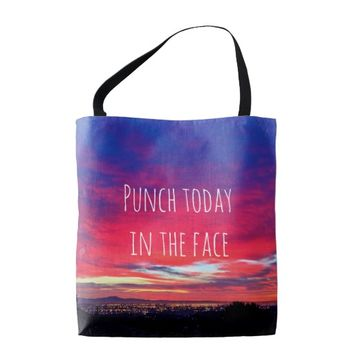 """Punch"" quote hot pink blue sunrise photo tote bag"