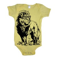 Baby LION Professor Onesuit Boy Bodysuit - American Apparel - 3-6m, 6-12m, 12-18m, 18-24m, (7 Color Options)