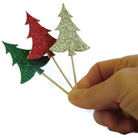 Christmas Cupcake Toppers - Glitter Christmas Trees - 12 Pack