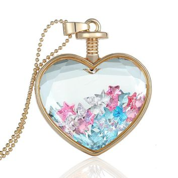 Luxury Quality Glass Locket Star Crystal Love Pendant Vial Long Gold Chain Pendant Necklace Statement Necklace Jewelry