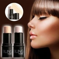 Highlighter Stick Shimmer Powder Cream Shadow Highlighting Waterproof Face Eyes Makeup Cosmetics Silver Gold
