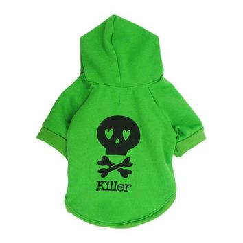 Halloween Fleece Black Skeleton Pet Dog Puppy Clothes with Hood Sweater pullover