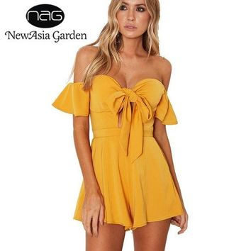 CREYCI7 NewAsia Garden Off Shoulder Flare Sleeve Bow Tie Front Bustier Padded Women Playsuit Casual Strapless Rompers Jumpsuit New 2017