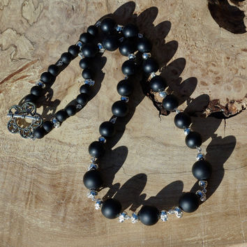 Black Onyx Stone Necklace ~ Silver Skull Beads ~  Matte Black Stones ~ Tibetan Silver Flower Clasp ~ Semi Precious Stones  ~ Unique Jewelry
