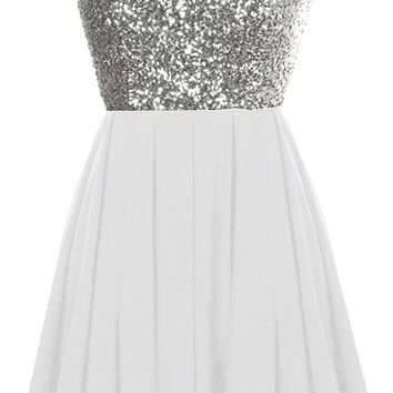 Glitter Fever Dress | Silver White Sequin Party Skater Dresses | Rickety Rack