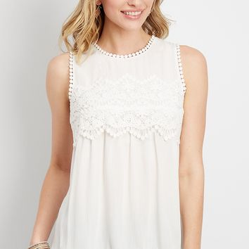 crocheted yoke tank | maurices