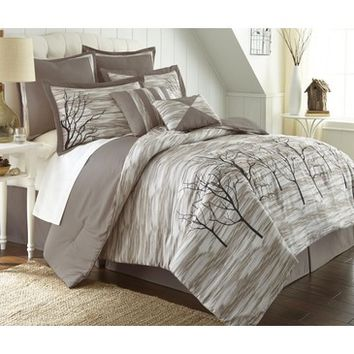 Amrapur Alison Tree Print 8 Piece Comforter Set In Taupe