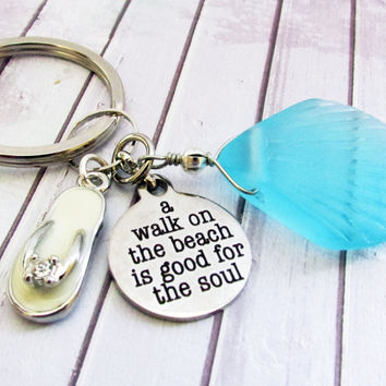 Sea Glass Shell Keychain with Beach Quote