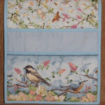 Quilted Armchair Caddy, Bedside Caddy, Goldfinches and Butterflies