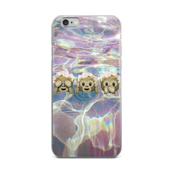 Flower Crown Monkey Emoji's Under Water Teen Cute Girly Girls Swimming Swim Team iPhone 4 4s 5 5s 5C 6 6s 6 Plus 6s Plus 7 & 7 Plus Case