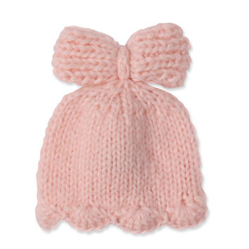 MUD PIE PINK KNIT BOW HAT