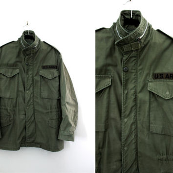 Vintage Mens Green Army Jacket - US Army Jacket - Military Field Jacket - Mens Military Parka Coat - Size Medium Regular