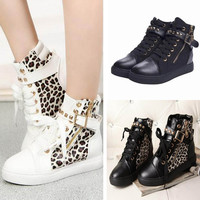 Korean Autumn  Shoes Ankle Heels Rivet Canvas Leopard  Casual Sneakers High Top Thick Bottom Shoes Size 35-39 TY0059salebags