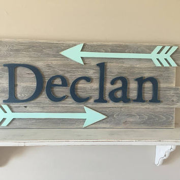 Nursery reclaimed wood name sign, Distressed nursery name, Rustic nursery decor, nursery arrows decor, Nursery wall decor, Nursery letters