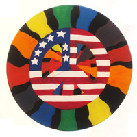 Ameican flag patriotic peace sign oil painting on vinage 33 vinyl record rainbow painting sixties original varnished