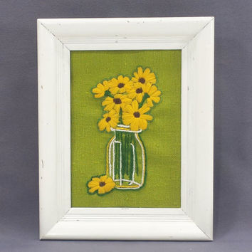 Vintage Crewel Embroidery Daisy Jar Picture, Small Framed Needlepoint Wall Art Retro Daisies Needlework, Cottage Shabby Boho Chic Wall Decor