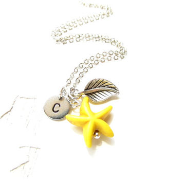 Personalized Gemstone Necklace Yellow Starfish Hand stamped Letter of your choice