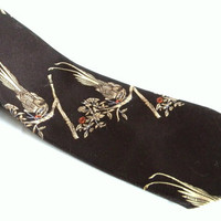 Vintage Men Necktie Designed by Hardy Amies Late 60s Early 70s Wide Necktie Mad Men Fashion. Brown Gold birds