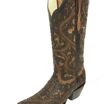 DCCKAB3 Corral Brown Full Overlay & Studs Snip Toe Boots G1309