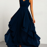 Navy Deep V Neck Layered Dress
