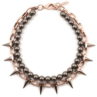 Lost Innocence Spike Necklace with Brown Pearls - Rose Gold/ Brown Spikes / Brown Pearls