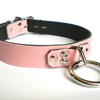 Baby Pink Leather BDSM Lockable slave sub Collar with Bondage Ring and padlock /locking sub