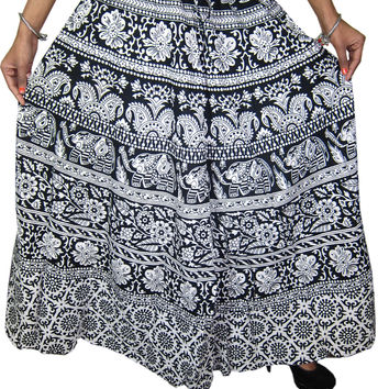Womans Long Skirt Boho Black White Floral Printed Peasant Maxi Skirts, Gift Idea