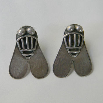 Vintage Huge Egyptian  FLY of VALOR EARRINGS Large Sterling Silver Insect Bug Earrings Signed Pierced Earrings Runway Statement