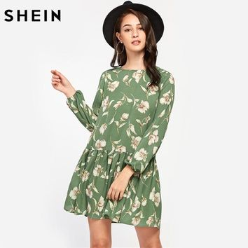 SHEIN Allover Flower Print Lantern Sleeve Drop Waist A Line Dress Autumn Green Round Neck Long Sleeve Casual Dress