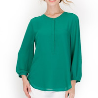3/4-Sleeve Placket Front Blouse with Pleated Back - Kelly Green