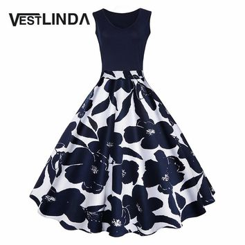 VESTLINDA Women Vintage Dress Retro 50s Floral Print High Waist Summer Party Dress Elegant Female Dress Vestido de festa Robe