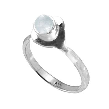 Moonstone Pinky Ring in Sterling Silver