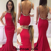 daba47ad35c Backless Prom Dress Red Backless Prom Dress Evening Dresses