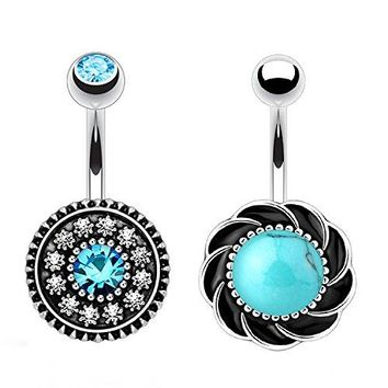 BodyJ4You 2PC Belly Button Rings Flower Tribal Filigree 14G Steel Navel Banana Bar Girl Women Jewelry