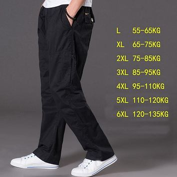 spring summer casual pants male big size 6XL Multi Pocket Jeans oversize Pants overalls