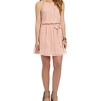 I.N. San Francisco Pleated High-Neck Dress | Dillards.com