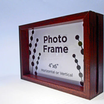 "Dark Wood Double-Sided ""Any-Which-Way"" 4x6 Vintage Picture Frame"