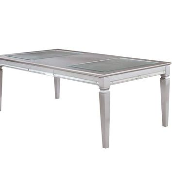 Wooden Dining Table With Beveled Mirror Insert, Silver And Clear -CM3452T