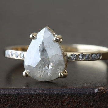 Natural Silver- White Rose Cut Diamond Ring with Pave Band