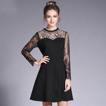 Embellished Lace Little Black Dress Women Beaded See Through Tube A Line Mini Party Dresses Plus Size L to 5xl