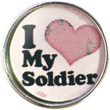 Pink Heart I Love My Soldier Military  18MM - 20MM Snap Charm New Item