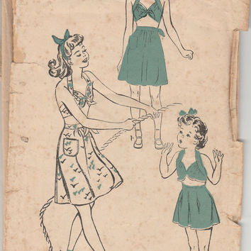Advance Pattern 3899 Bathing Suit Swimwear Halter Top Pattern Girls Size 6 Breast 24 Vintage 1940s Rare Children Beachwear DIY Kids Clothes