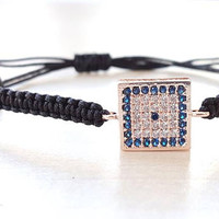 Evil eye bracelet, silver evil eye, square bracelet, valentines day gift for her, turkish jewelry, best friend gift, mother gift