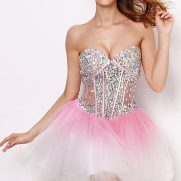 2016 Sexy Sweetheart Rhinestones Crystal Beaded Pink Corset Homecoming Dresses Short Cocktail Dresses 2016