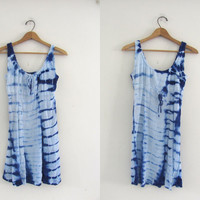 25% OFF STOREWIDE! Vintage blue and white tie dye festival cotton dress // India Tunic dress / M