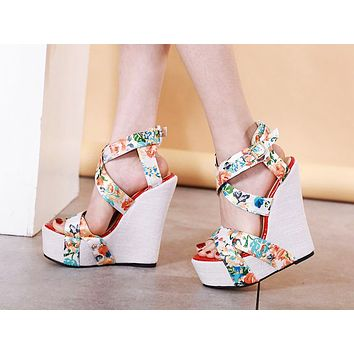 Fashion Show Slope heel Super High-heeled Sandals Printed Colour Waterproof Table Night Shoes