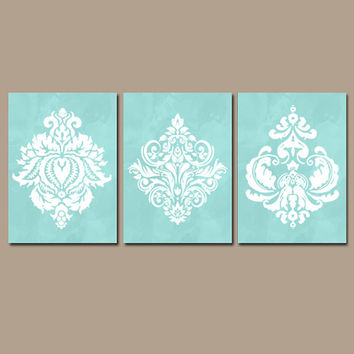 Aqua Bedroom Canvas or Prints Watercolor Wall Art Bathroom Wall Art Damask Wall Art Navy Wall Art Bedroom Decor Bathroom Pictures Set of 3
